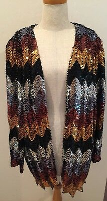 Vtg Erica Scott Sequin Jacket Blazer 80s Black Silver Gold Costume Halloween 90s