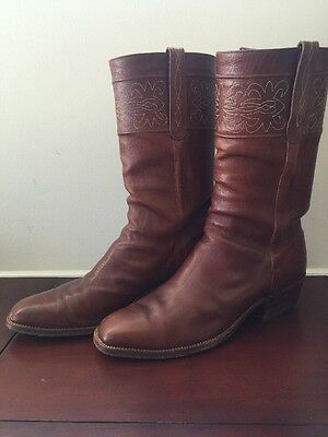 Vintage Lucchese Spanish Collection Western Leather Cognac Cowboy Boots 12D