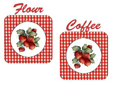 GinGHaM STraWbeRrieS SHaBbY CaNisTeR LaBeLs WaTerSLiDe DeCALs