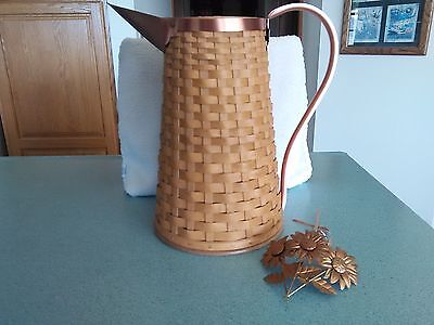 Longaberger 2006-2007 Woven Pitcher Basket w/ prot & tie-on Copper handle NEW