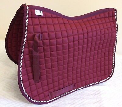 JUMPING SADDLEPAD QUILTED DRESSAGE SADDLECLOTH 18mm EXTRA THICK MAROON FULL PONY