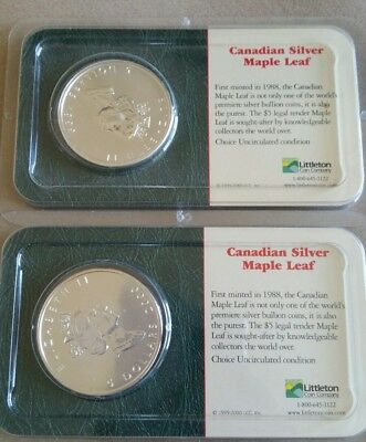 Lot of TWO Canadian Fine Silver Maple Leaf Coins Littleton  1oz .9999 1999/2000