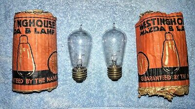 "Pair of Antique ""Westinghouse Mazda"" Tipped Light Bulbs w/ Sleeves...Look...NR"