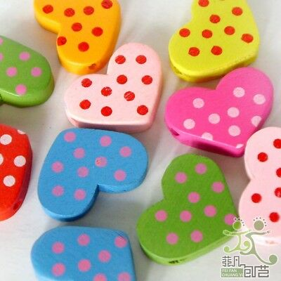 20pcs Mixed Colour Heart Shape With Dots Wooden Beads Eco-friendly Paint 22x17mm