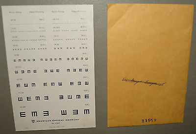 Vintage Eye Chart - American Optical Company #11969 dated 1942