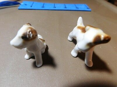 Miniature Bone China Dog Figurines Vintage 1950's Airdale Terriers unknown maker