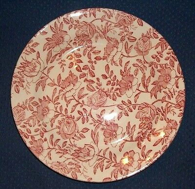 """CHURCHILL Chintz 8"""" Salad Plate Red """"Pink"""", Transferware Roses, RARE Replacement"""