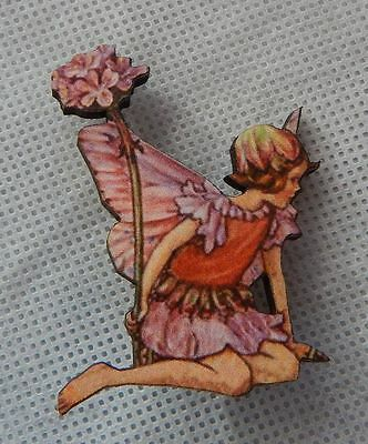 Flower Fairy Brooch or Scarf Pin Pink Wood Accessories Fashion NEW Multi-Color
