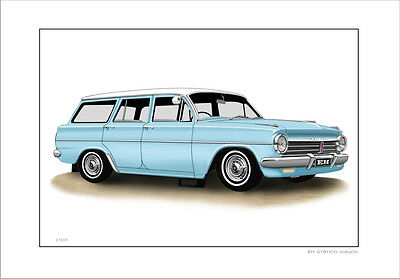 Holden Eh  Station Wagon  Limited Edition Car Drawing  Print  ( 7 Car Colours)