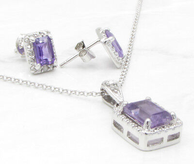 925 Silver - VICTORIA TOWNSEND Genuine Diamonds & Amethyst Necklace & Earrings