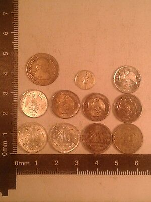 Lot Of 11 Silver Coins Mexico (Some In Bu Condition) *