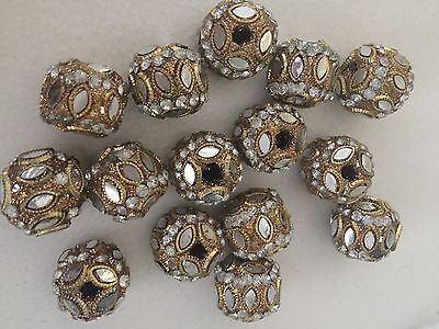 20 X Golden  colour beads buttons art craft clothes decorations
