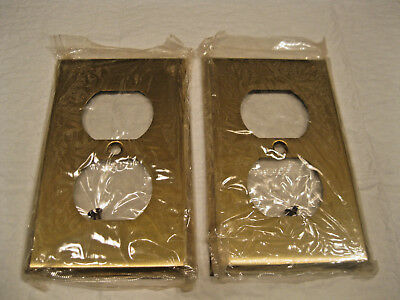Receptacle Single Duplex Outlet Cover Metal Wall Plates - Antique Brass Lot of 2