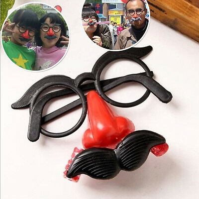 Clown Glasses Costume Ball Round Frame Red Nose w/Whistle Mustache