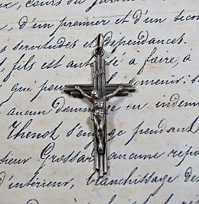 Antique our Vintage Sterling Silver Crucifix Cross Jesus INRI
