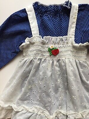 Vintage 1970's Smocked Eyelet Strawberry Pinafore and Blue Swiss Dot Dress 2T