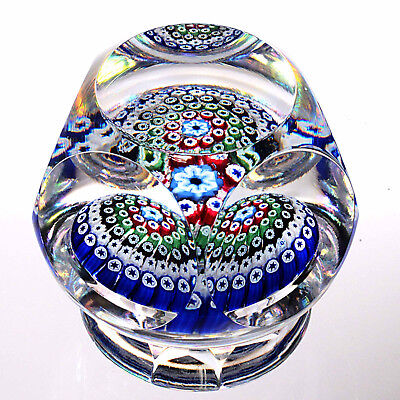 1973 WHITEFRIARS Five Ring Concentric Millefiori Piedouche Paperweight
