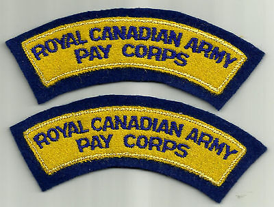 Royal Canadian Army Pay Corps (Obsolete) Shoulder Flash Pair