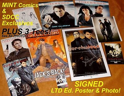 TORCHWOOD John Barrowman SIGNED SDCC Poster Comic Books TEES Doctor Who NEW!
