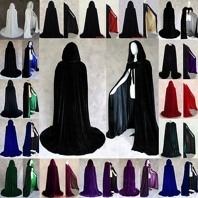 Halloween Costume Witchcraft Cape Gothic Hooded Velvet Cloak Medieval Wicca Robe