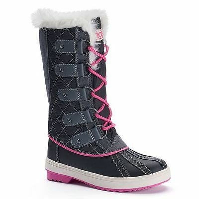 NEW Girls TOTES Boots SURI BLACK water resistant Winter Snow Boot Faux Fur