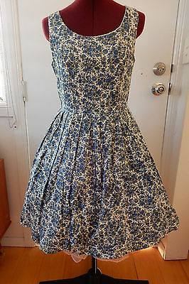 Blue floral fit and flare 1950s style dres. Princess Highway