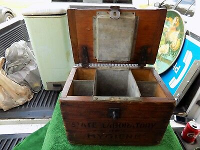 Rare Antique State Laboratory Of Hygiene Blood Transporter Wood Box Cooler # 158