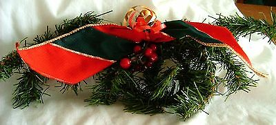 Festive Swag w-Red-Green Bow - 10in long