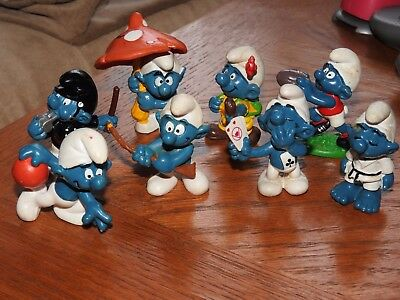 Mixed lot of 8 vintage SMURF figures 70's 80's Peyo Schleich