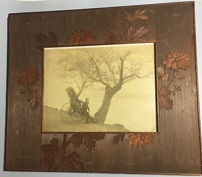 Antique Chinese Wood Carved Picture Frame With Original Photograph