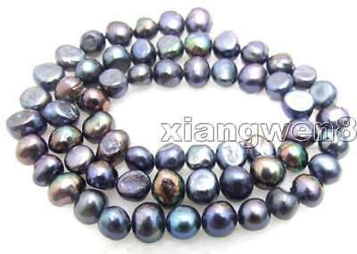"""SALE Small 6-7mm Natural Black Freshwater BAROQUE Pearl Loose Beads 14""""-los455"""