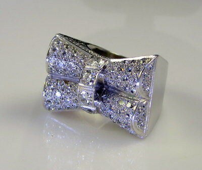 Estate Antique Art Deco Huge Platinum 18k Gold 2.7 Carat White Diamond Bow Ring