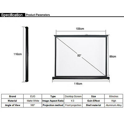 50'' Inches 4:3 HD Projector Screen Matte White Outdoor Movie Family Film US