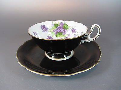 Vintage  ECHO Occupied Japan - Black w/ Flower Cup and Saucer Set CHINA
