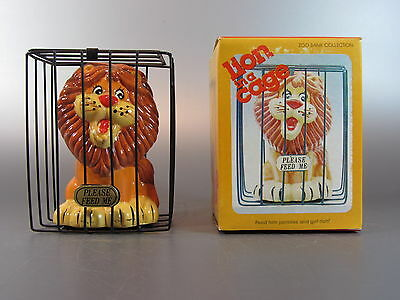 """Vintage 1980's CERAMIC LION IN A CAGE """" FEED ME """" ZOO BANK COLLECTION Taiwan"""
