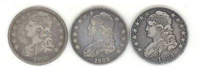 1834 1835 1836 Capped Bust Silver Half Dollars Grade From Au To Vf