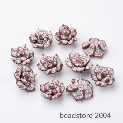 10pcs Purple Color Valentines Handmade 3D Flower Polymer Clay Beads Craft Beads
