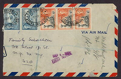 Gold Coast | 1952 Registered Airmail Cover