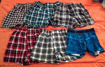 Boys Med Size8 Boxers Faded Glory 6-pack Plaid Cotton Blend Old Navy Asst Colors