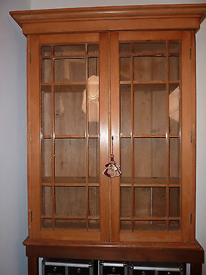 Antique English Pine Bookcase with Glass Doors