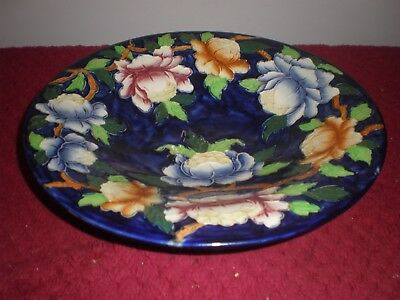 Maling Ware Colbalt Blue with Peonies Pattern Footed Bowl c.1930's