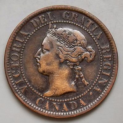 1899 Canada Canadian Old Large 1 cent Victoria Coin VF