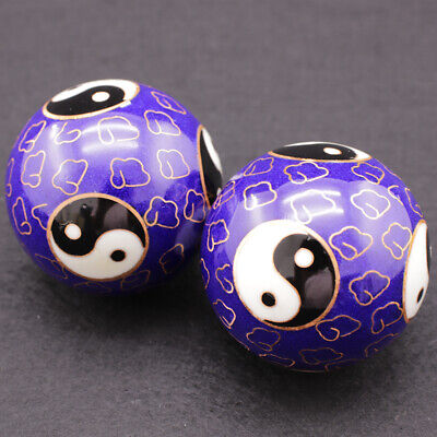 2x 50mm Yin Yang Chinese Baoding Balls Health Exercise Stress Relaxation Therapy