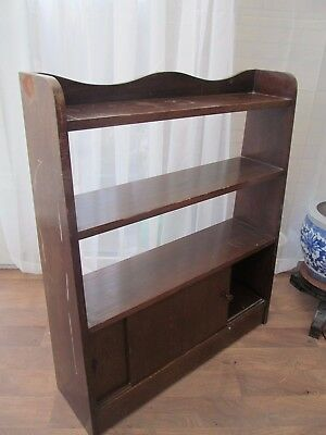 Oak Waterfall Open Bookcase with Cupboard 3 Book Shelf Vintage Antique Furniture