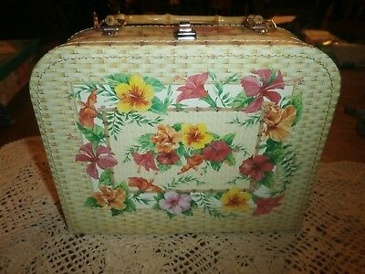 Vintage Purse Lunch Box Style Flower Bamboo Handle Purse Handbags & Cases Nice