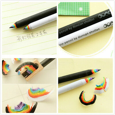 2Pcs Rainbow Pencils Drawing Painting Pencils Stationery Black and White Lovely