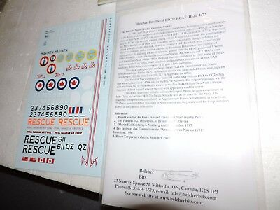 BELCHER BITS 1/72nd Scale DECAL SHEET CANADIAN RESCUE HELICOPTERS # BD-21