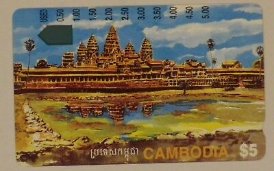 $5 Telstra Cambodia international Phonecard Angkor Wat 1 hole used prefix 1424