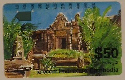 $50 Telstra Cambodia international Phonecard Temple two holes used prefix 185