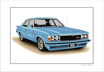 Holden Hz  Gts  Sedan  Limited Edition  Car Drawing  Print (6 Car Colours)